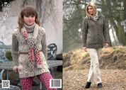 King Cole Ladies & Girls Tunic, Coat & Scarf Fashion Knitting Pattern 3744  Aran