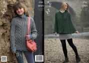 King Cole Ladies & Girls Cape & Sweater Fashion Knitting Pattern 3745  Aran