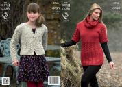 King Cole Ladies & Girls Tunic, Cardigan & Snood Fashion Knitting Pattern 3746  Aran