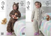 King Cole Childrens All-in-One Onesie Funky Felts Knitting Pattern 3759