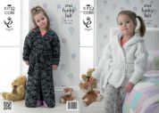 King Cole Childrens Dressing Gown Funky Felts Knitting Pattern 3764