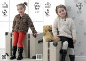King Cole Childrens Jacket & Sweater Funky Felts Knitting Pattern 3766