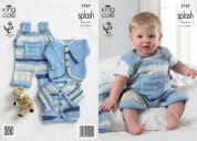 King Cole Baby Dungarees & Cardigans Splash Knitting Pattern 3767  DK