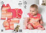King Cole Baby Dungarees & Cardigans Splash Knitting Pattern 3768  DK