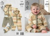 King Cole Baby Coat, Trousers, All in One & Socks Splash Knitting Pattern 3769  DK