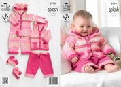King Cole Baby Coat, Trousers, All in One & Socks Splash Knitting Pattern 3770  DK