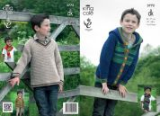 King Cole Boys Hoodie, Sweater & Scarf Merino Knitting Pattern 3772  DK