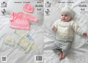 King Cole Baby Dress, Jacket & Hats Glitz Knitting Pattern 3773  DK
