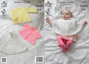 King Cole Baby Cape & Jackets Glitz Knitting Pattern 3778  DK