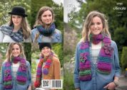 King Cole Ladies & Girls Scarves, Snood & Collar The Ultimate Knitting Pattern 3784  Super Chunky