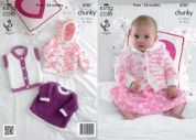 King Cole Baby Jacket, Top & Gilet Cuddles Knitting Pattern 3787  Chunky
