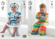 King Cole Baby Onesie, Dress & Hat Flash Knitting Pattern 3791  DK