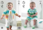 King Cole Baby Cardigan, All in One & Shoes Flash Knitting Pattern 3792  DK