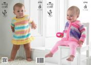 King Cole Baby Dress & Cardigan Flash Knitting Pattern 3793  DK