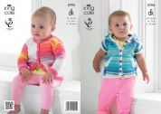 King Cole Baby Cardigan & Hoodie Flash Knitting Pattern 3794  DK