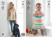 King Cole Girls Smock Top & Dress Flash Knitting Pattern 3795  DK