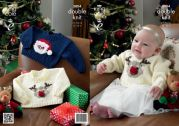 King Cole Baby Christmas Sweaters Comfort Knitting Pattern 3804  DK