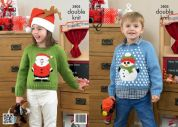 King Cole Childrens Christmas Sweaters Pricewise Knitting Pattern 3805  DK