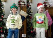 King Cole Childrens Christmas Sweaters Pricewise Knitting Pattern 3807  DK