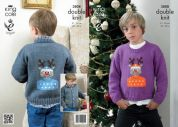 King Cole Childrens Christmas Jacket & Sweater Big Value Knitting Pattern 3808  DK