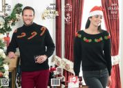 King Cole Ladies & Mens Christmas Sweaters Glitz Knitting Pattern 3809  DK