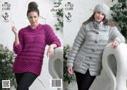 King Cole Ladies Sweater, Jacket & Hat Big Value Knitting Pattern 3816  Super Chunky
