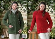 King Cole Ladies Coat & Tunic Big Value Knitting Pattern 3818  Super Chunky