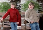 King Cole Boys Sweaters Big Value Knitting Pattern 3824  Super Chunky