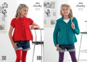 King Cole Girls Cardigans Glitz Knitting Pattern 3834  Chunky