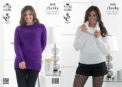 King Cole Ladies Sweaters Glitz Knitting Pattern 3838  Chunky