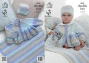 King Cole Baby Jacket, Hat & Blanket Melody Knitting Pattern 3841  DK