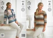 King Cole Ladies Sweaters & Scarves Shine Knitting Pattern 3844  DK