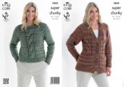 King Cole Ladies Cardigan & Top Gypsy Knitting Pattern 3850  Super Chunky