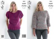 King Cole Ladies Sweater & Top Gypsy Knitting Pattern 3852  Super Chunky