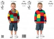 King Cole Boys Sweaters Big Value Knitting Pattern 3856  Chunky