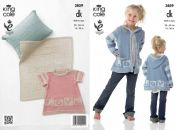 King Cole Girls Dress, Hoodie, Blanket & Cushion Bamboo Cotton Knitting Pattern 3859  DK