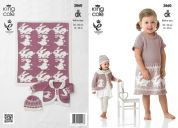 King Cole Girls Dress, Cardigan, Hat & Blanket Bamboo Cotton Knitting Pattern 3860  DK