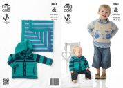 King Cole Boys Sweater, Hoodie & Blanket Bamboo Cotton Knitting Pattern 3861  DK