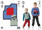 King Cole Boys Sweater, Pullover & Blanket Bamboo Cotton Knitting Pattern 3862  DK