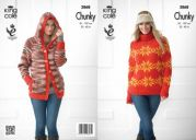 King Cole Ladies Hoodie & Sweater Magnum Knitting Pattern 3868  Chunky