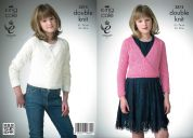 King Cole Girls Ballet Top & V Neck Sweater Galaxy Knitting Pattern 3874  DK