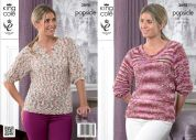 King Cole Ladies Sweater & Top Popsicle Knitting Pattern 3890