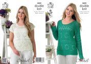 King Cole Ladies Sweaters & Top Giza Crochet Pattern 3899  DK