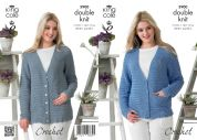 King Cole Ladies Cardigans Giza Crochet Pattern 3900  DK