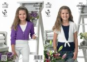 King Cole Girls Cardigans Giza Knitting Pattern 3901  DK