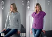 King Cole Ladies Sweater & Gilet Bamboo Cotton Knitting Pattern 3912  DK