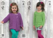 King Cole Girls Sweater & Cardigan Bamboo Cotton Knitting Pattern 3916  DK