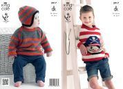 King Cole Boys Picture Sweater & Hat Merino Knitting Pattern 3917  DK