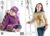 King Cole Girls Picture Sweater, Cardigan, Hat & Blanket Merino Knitting Pattern 3918  DK