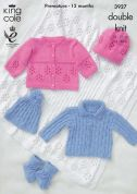King Cole Baby Jackets, Hats, Booties & Shawl Cottonsoft Knitting Pattern 3927  DK